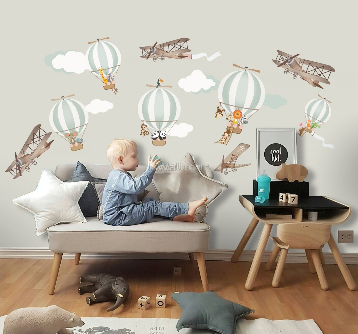 Kids Green Hot Air Balloon and Brown Aircraft with Clouds Wall Decal Sticker