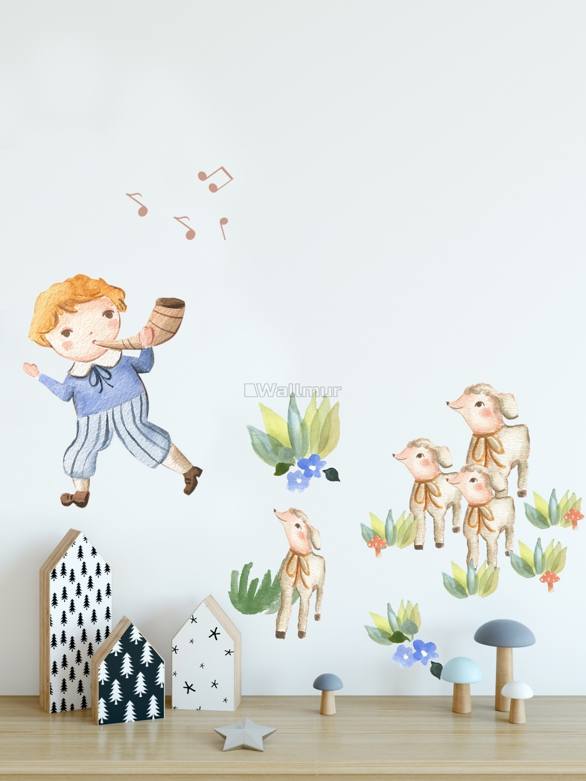 Kids Little Boys and Cute Sheeps Wall Decal Sticker
