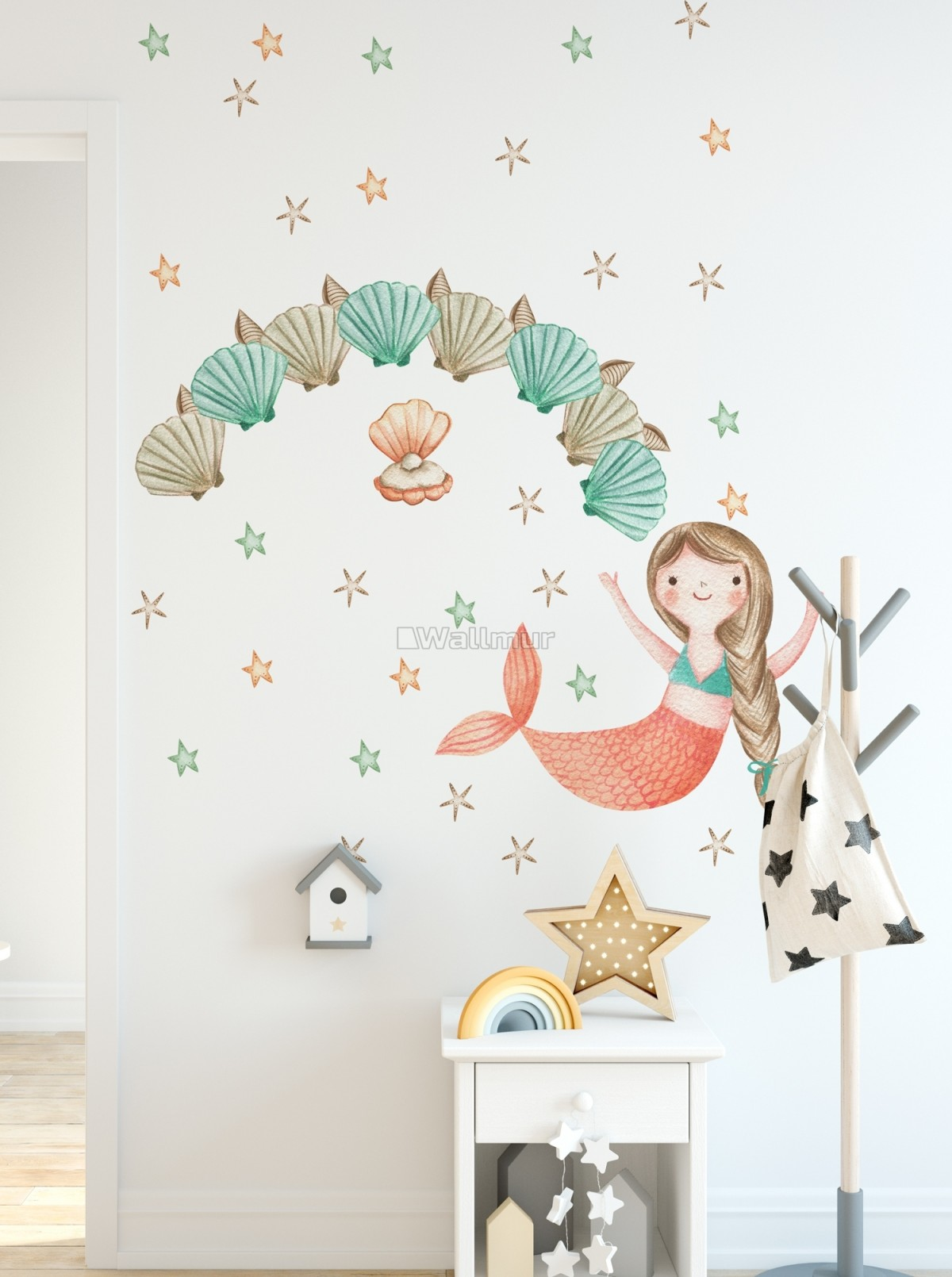 Kids Mermaid Girls with Pearl Oyster Wall Decal Sticker