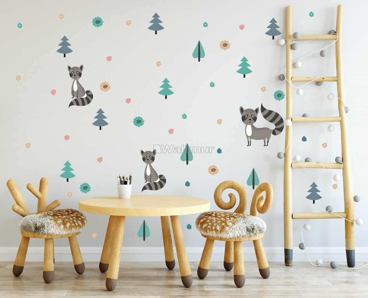 Kids Pine Tree and Little Florals Wall Decal Sticker