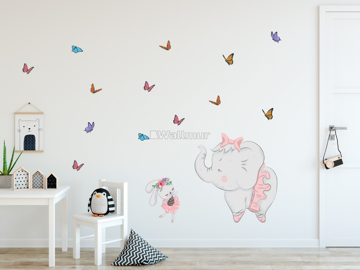 Kids Pink Ballerine Elephant and Bunny with Little Butterflies Wall Decal Sticker