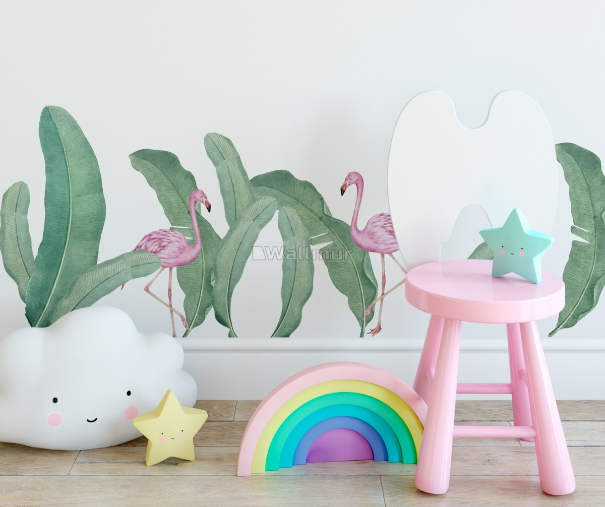 Kids Pink Flamingo and Green Banana Leaves Wall Decal Sticker