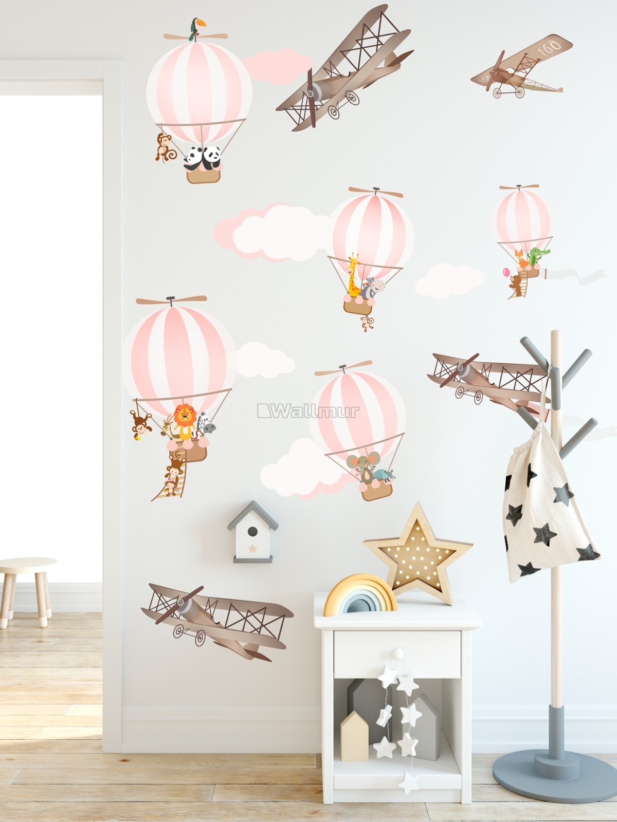 Kids Pink Hot Air Balloon and Brown Aircraft with Clouds Wall Decal Sticker