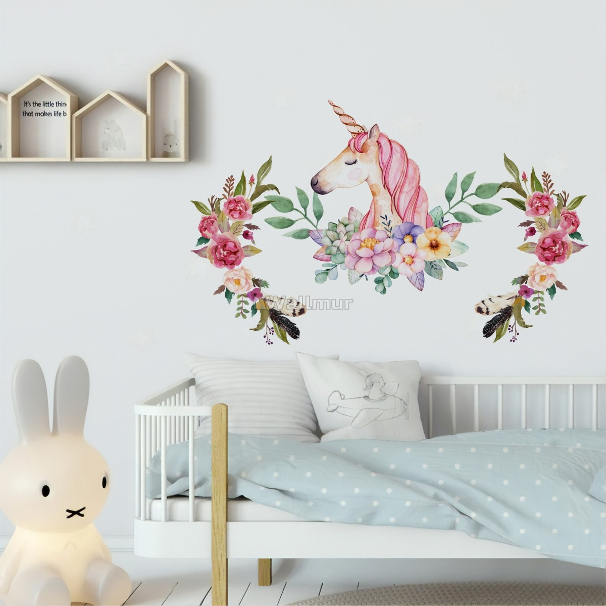 Kids Pink Unicorn with Colorful Florals Wall Decal Sticker