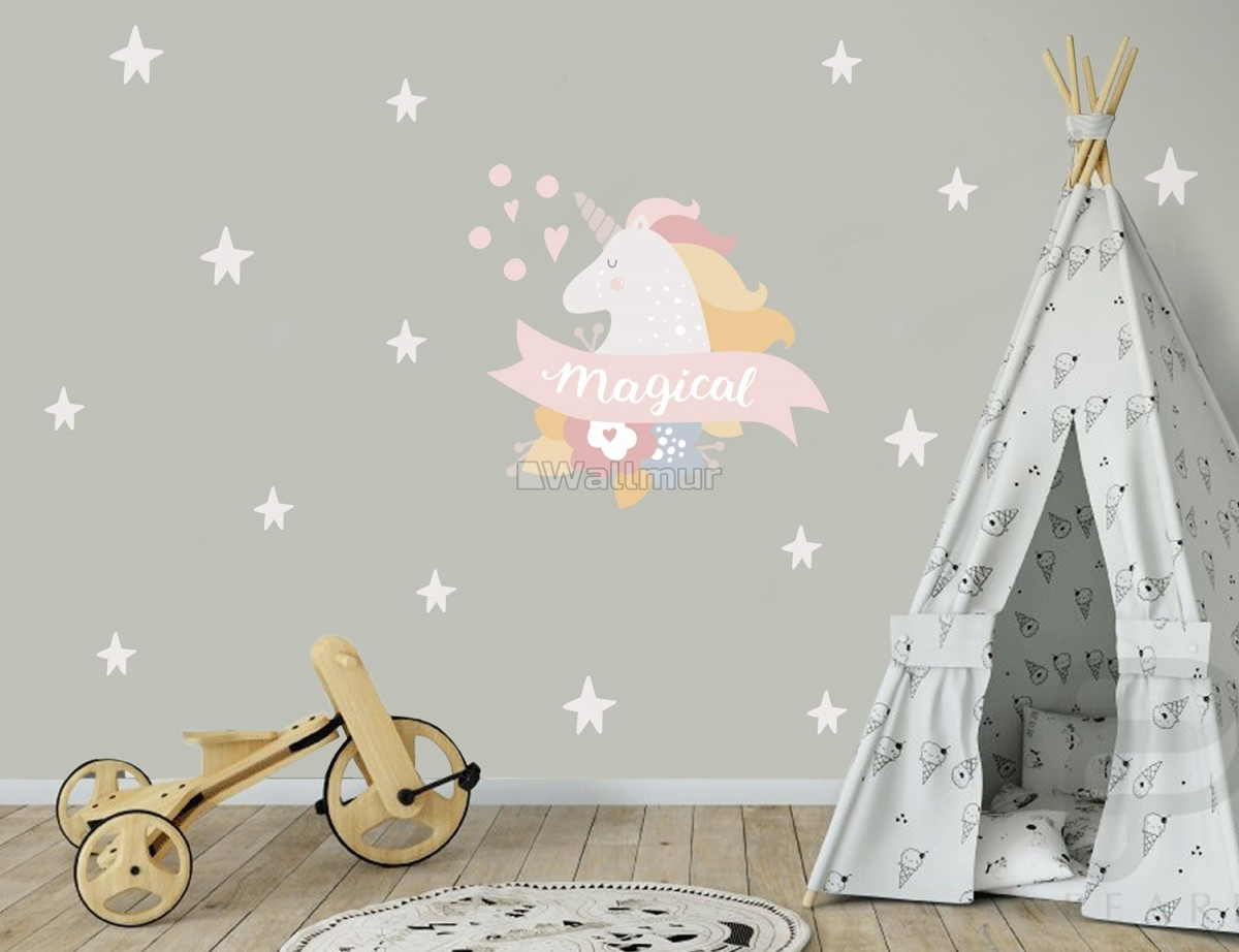 Kids Pink Unicorn with White Little Stars Wall Decal Sticker