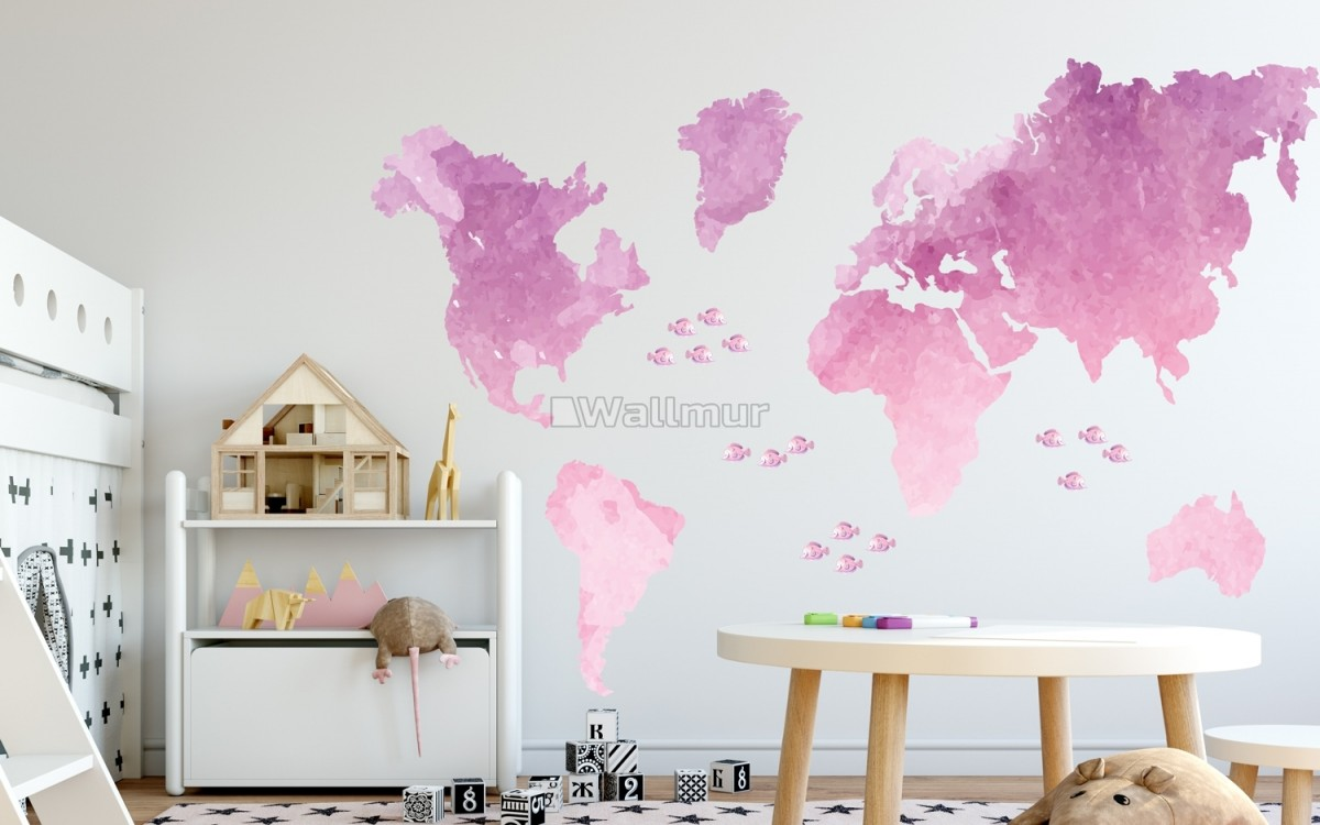 Kids Pink World Maps with Little Fishes Wall Decal Sticker