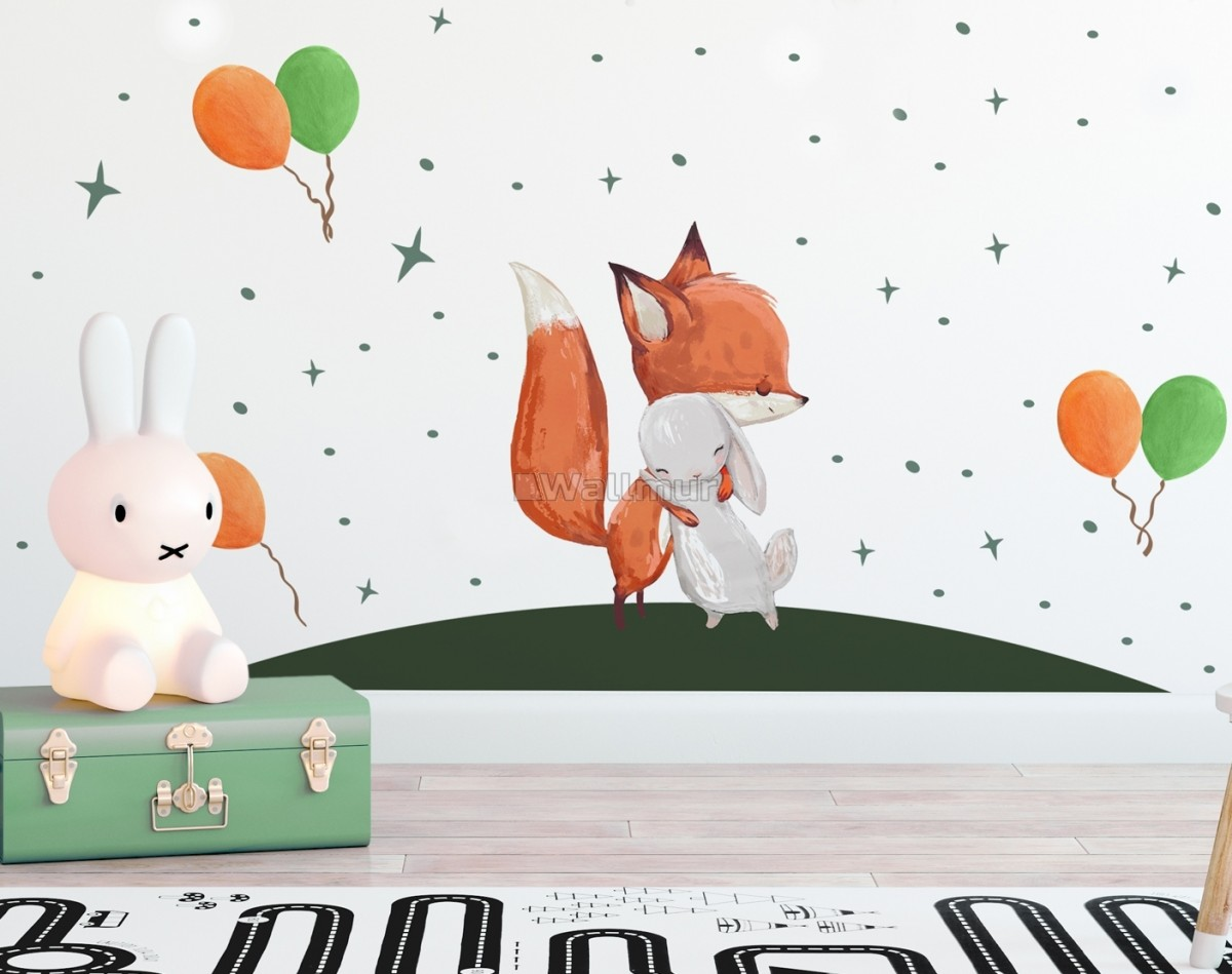 Cute Fox and Rabbit with Colorful Balloons Wall Decal Sticker
