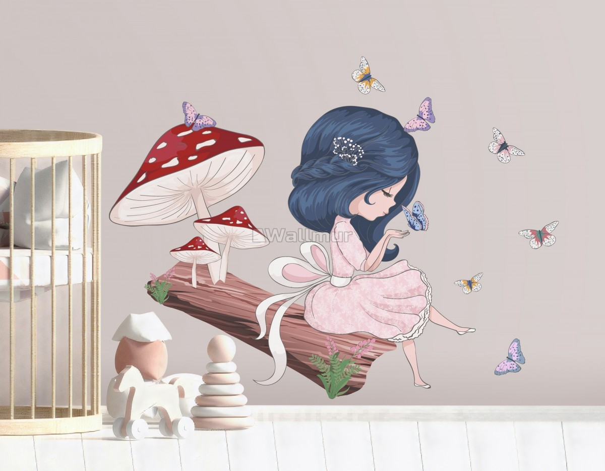 Cute Little Girl in the Forest with Colorful Butterfly Wall Decal Sticker