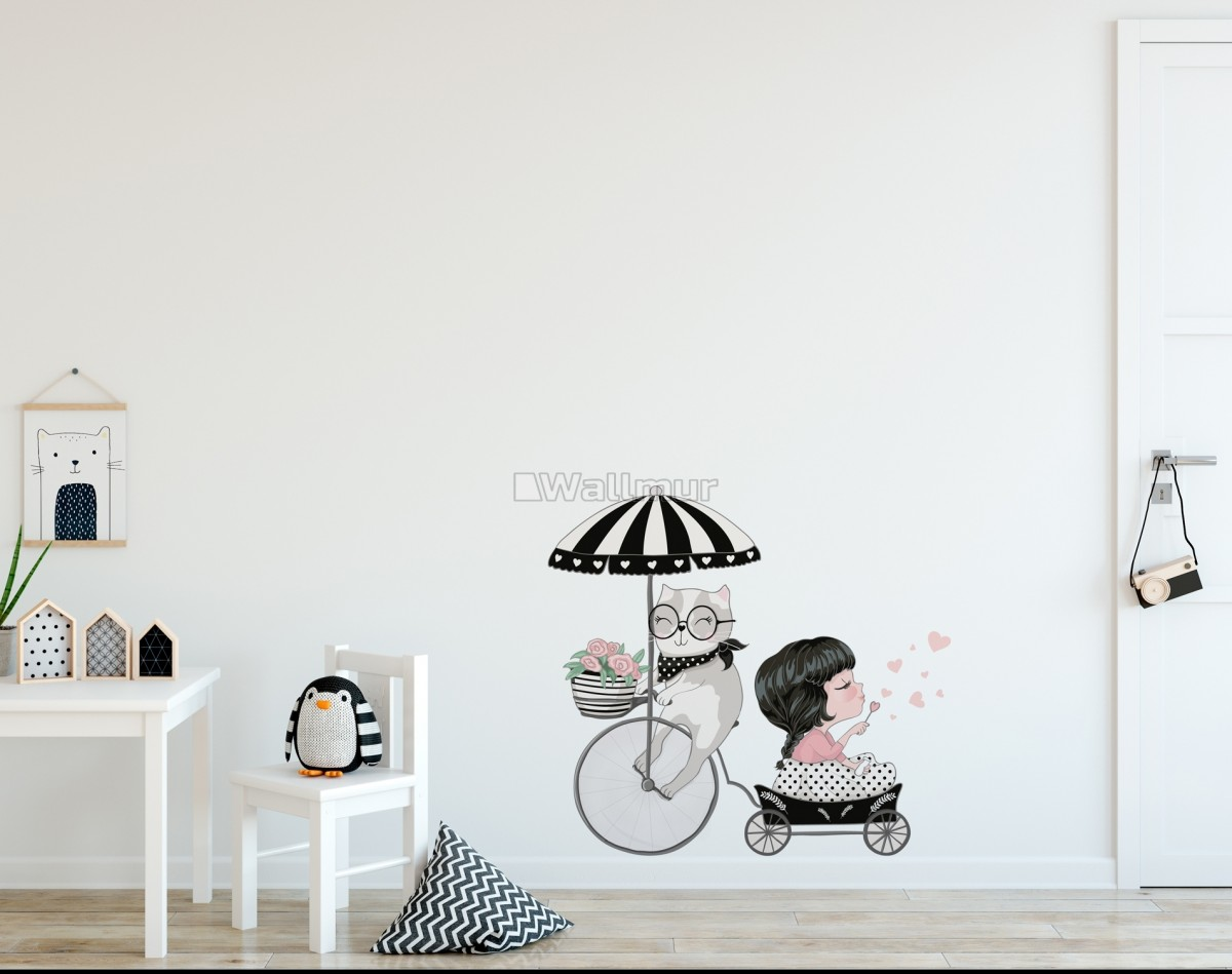 Cute Cat and Beautiful Girl Riding the Bike Wall Decal Sticker