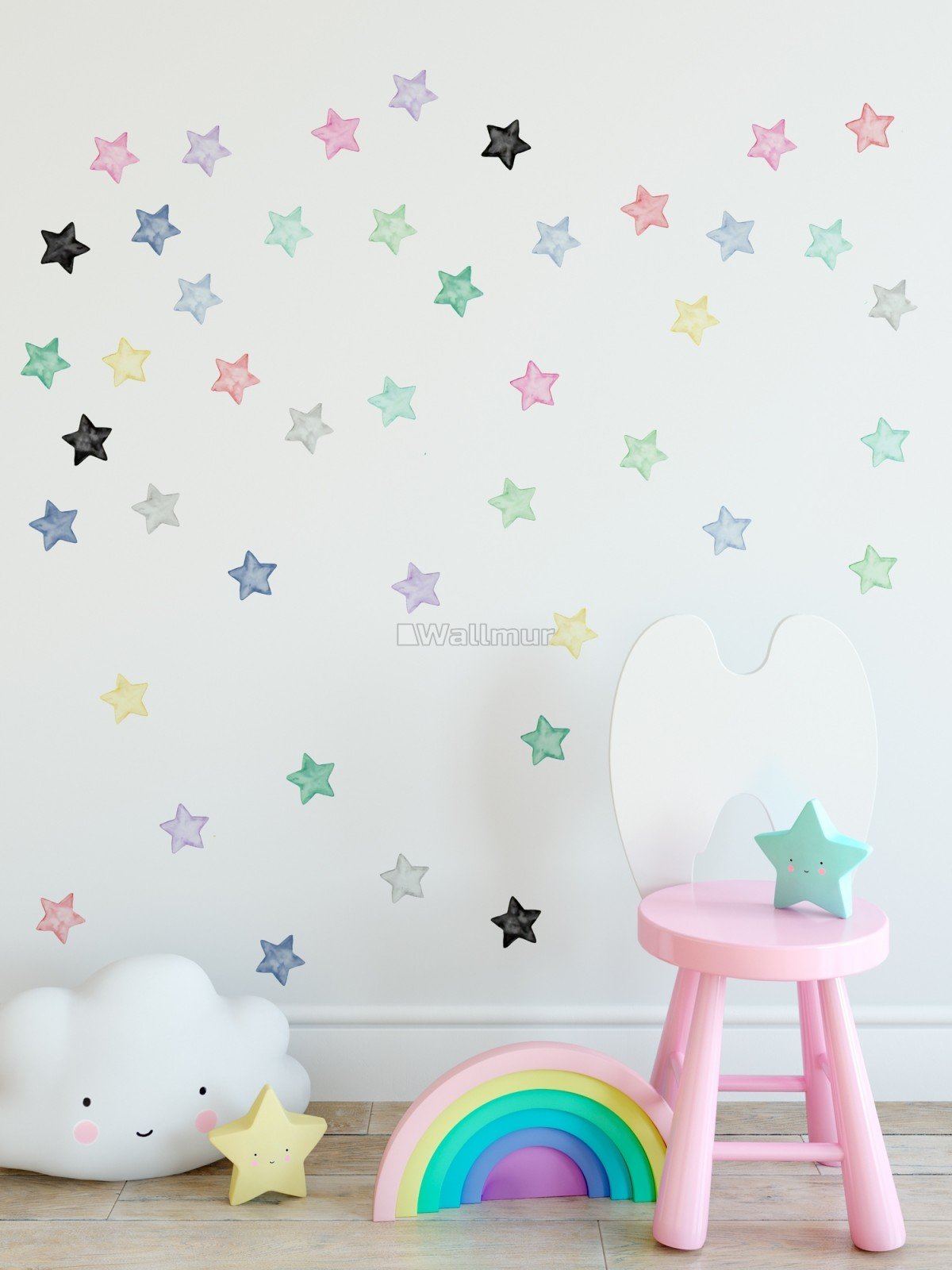 Colorful Watercolor Little Stars Wall Decal Sticker
