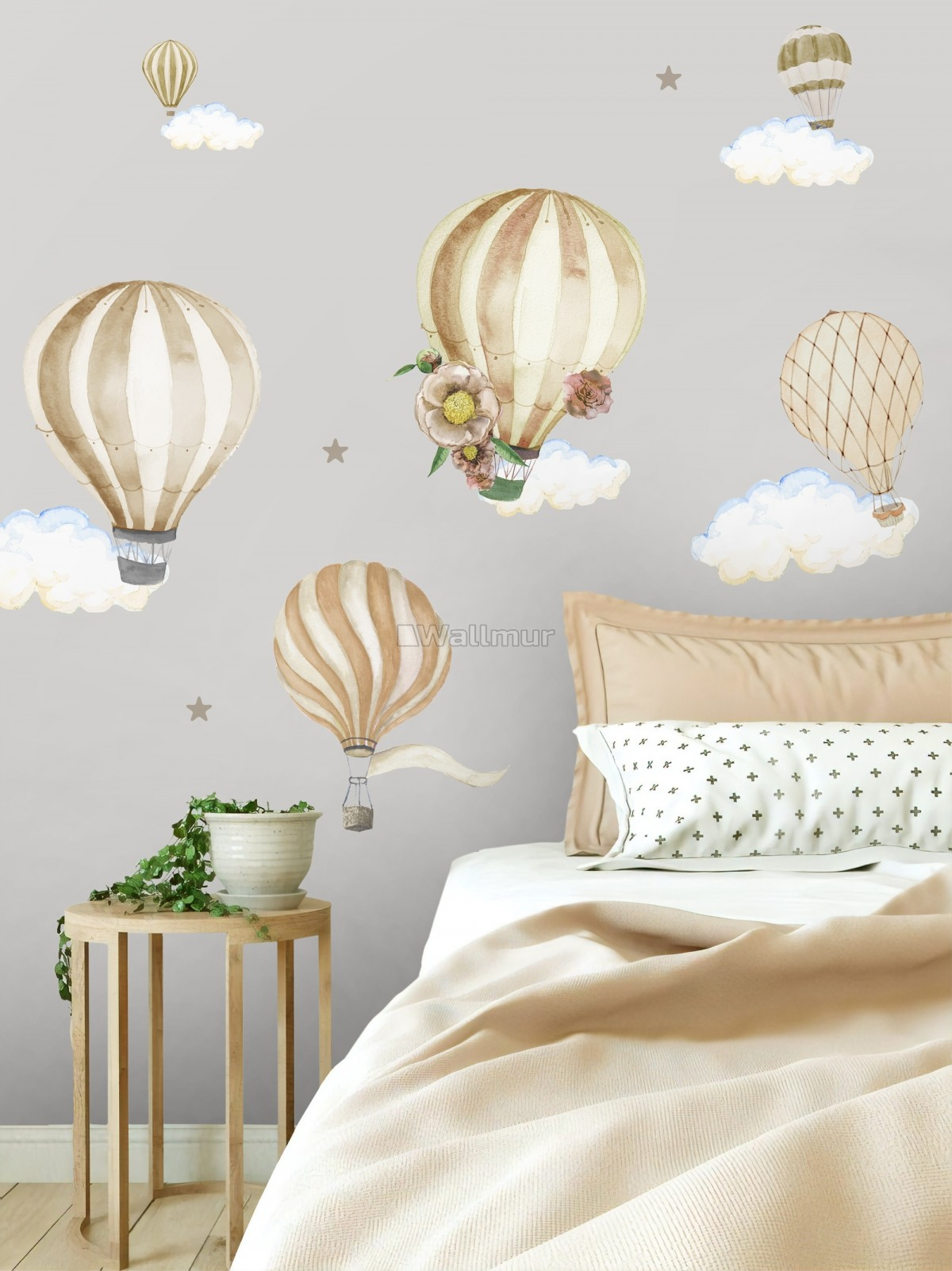 Kids Watercolor Brown Hot Air Balloon Wall Decal Sticker