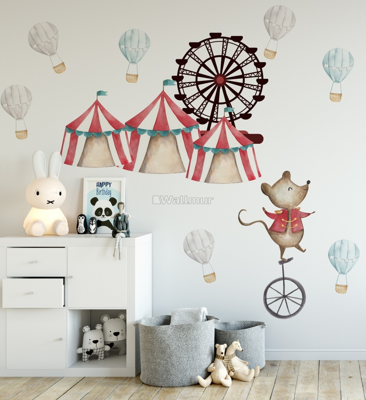 Kids Watercolor Circus Amusement Park with Little Hot Air Balloon Wall Decal Sticker