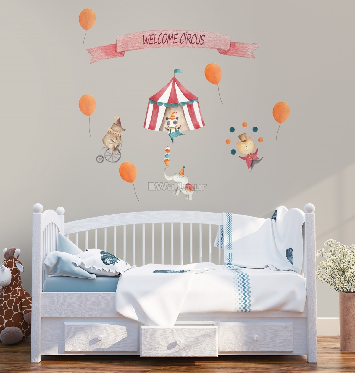 Kids Watercolor Circus with Cute Bear Fox Elephant Panda Wall Decal Sticker