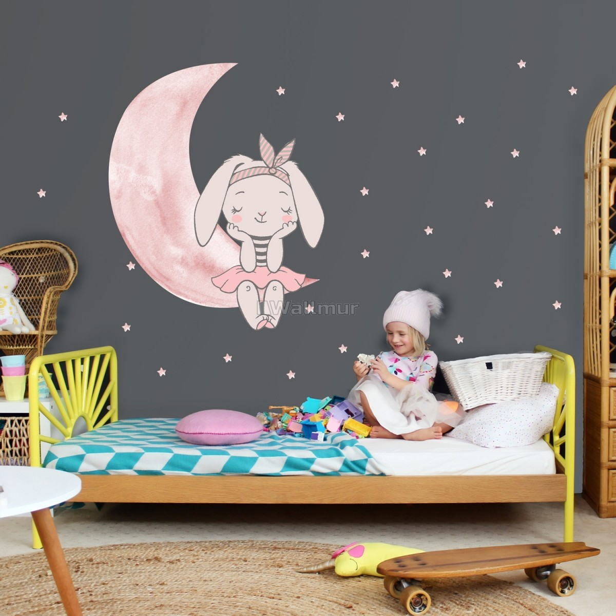Kids Watercolor Cute Rabbit and Pink Moon with Little Stars Wall Decal Sticker