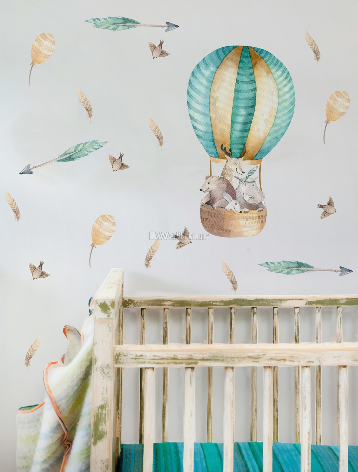 Kids Watercolor Hot Air Balloon with Animals and Colorful Feathers Wall Decal Sticker