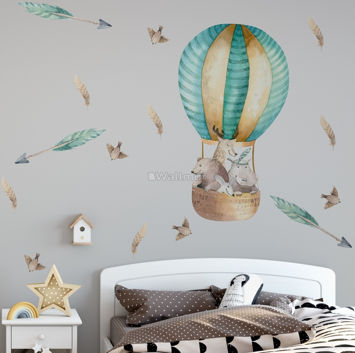 Ins Style Watercolor Elephant Rabbit Wall Stickers Colorful Animal Wall DHFUK