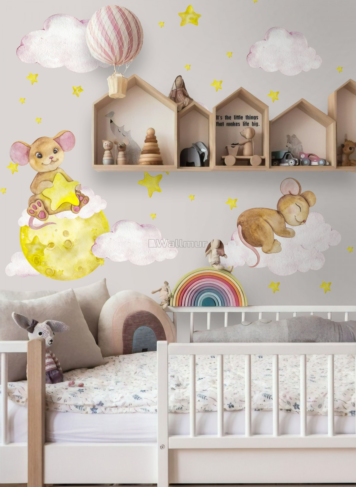 Kids Watercolor Mouse on the Yellow Moon with Little Stars Wall Decal Sticker
