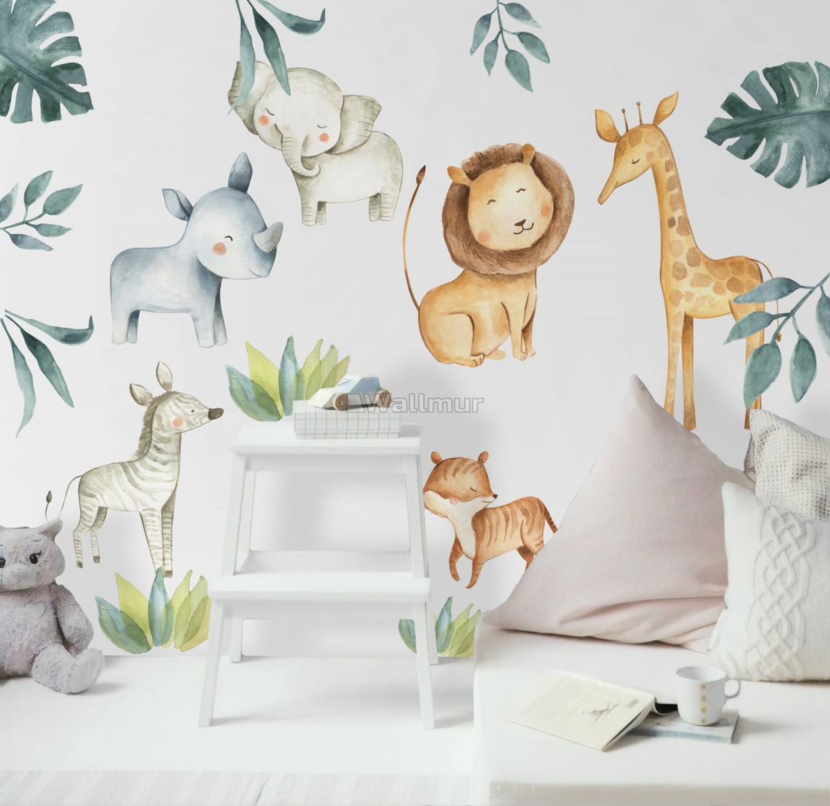 Kids Watercolor Safari Animals with Tropical Leaves Wall Decal Sticker
