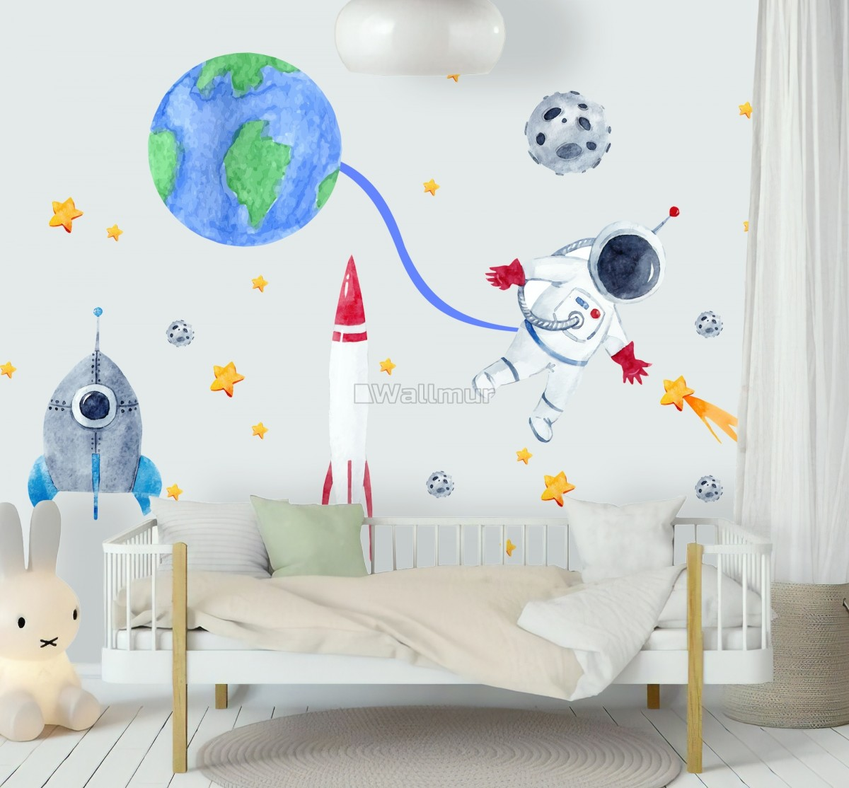Kids Watercolor Space with Astronaut and Earth Wall Decal Sticker