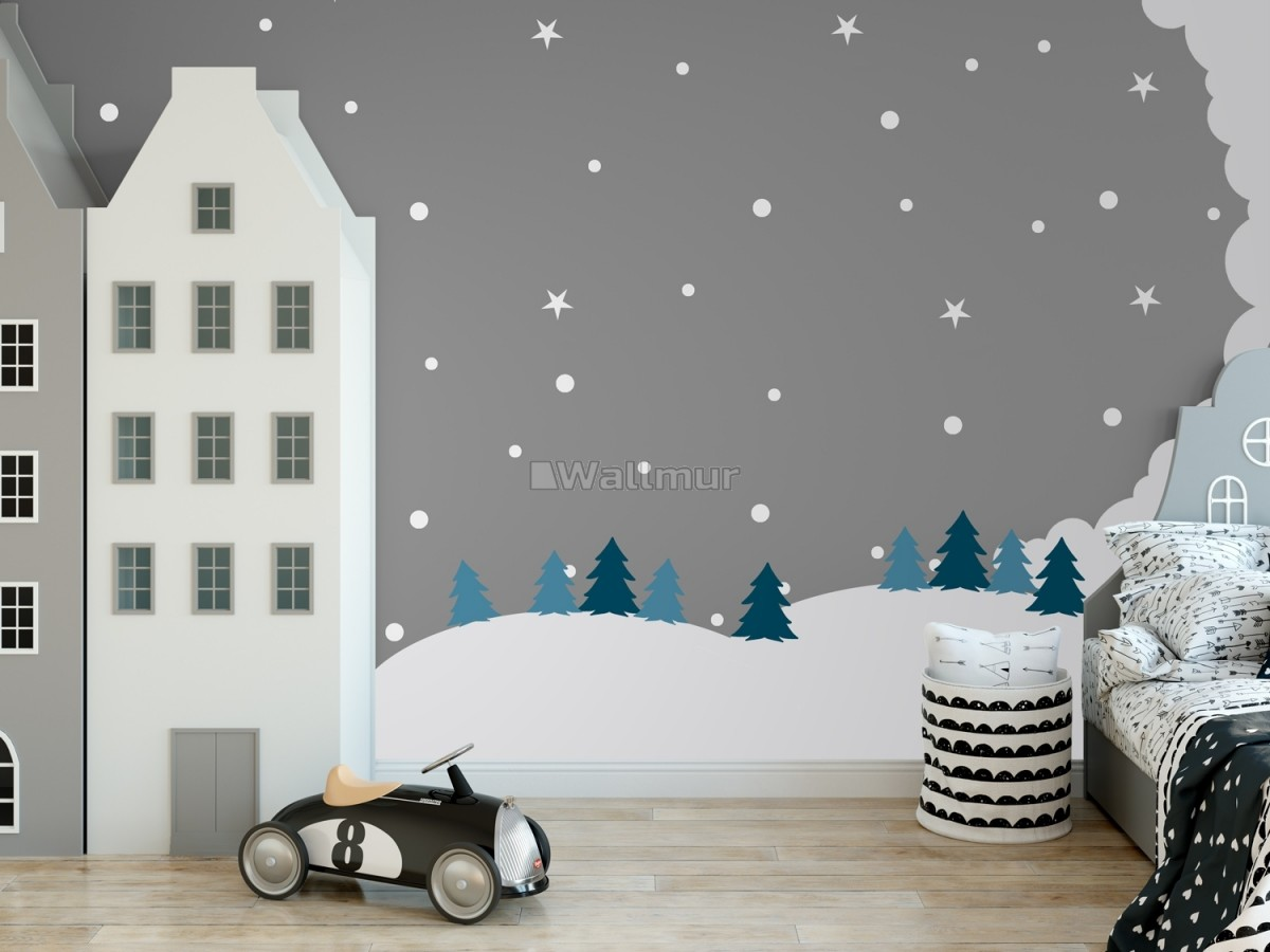 Kids White Winter Landscape with Green Pine Tree Wall Decal Sticker