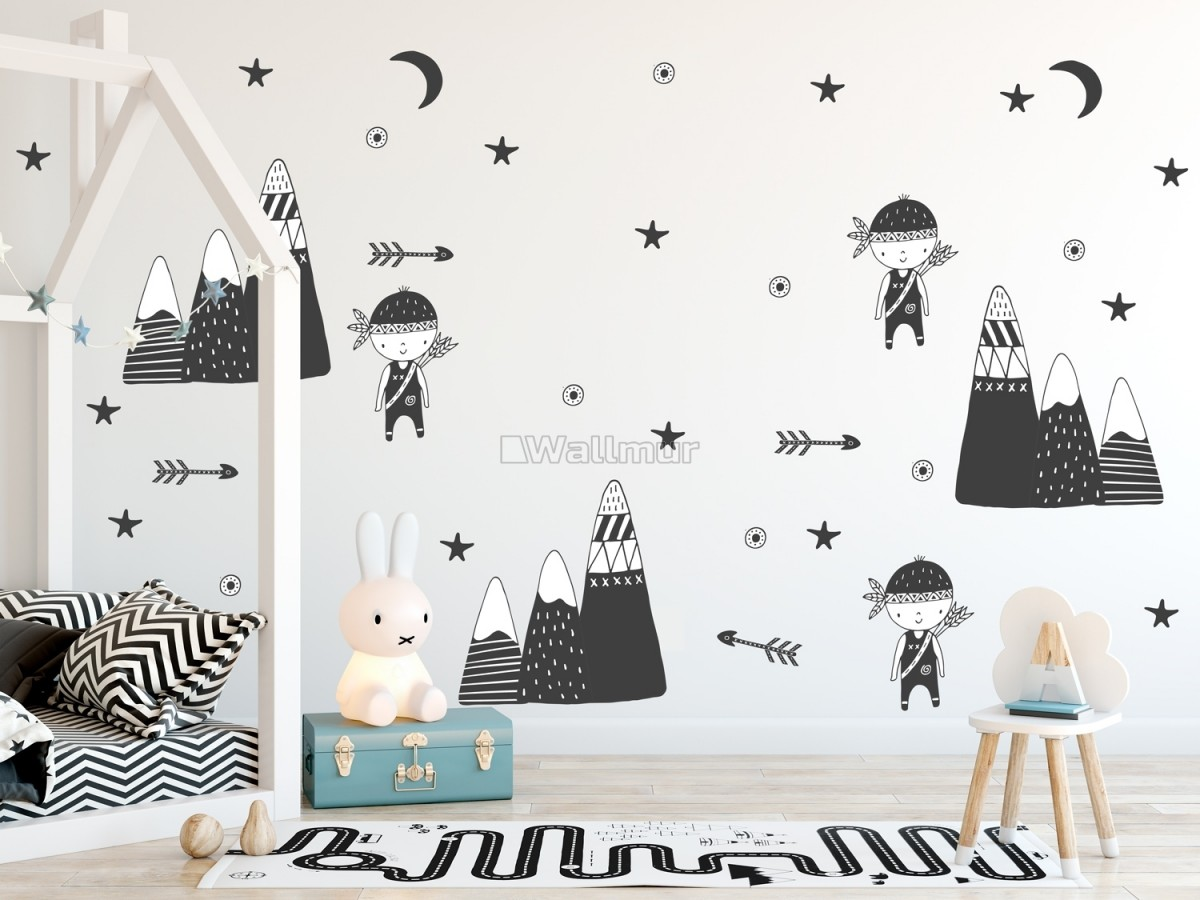 Kids Woodland for Boys Black Mountains Wall Decal Sticker