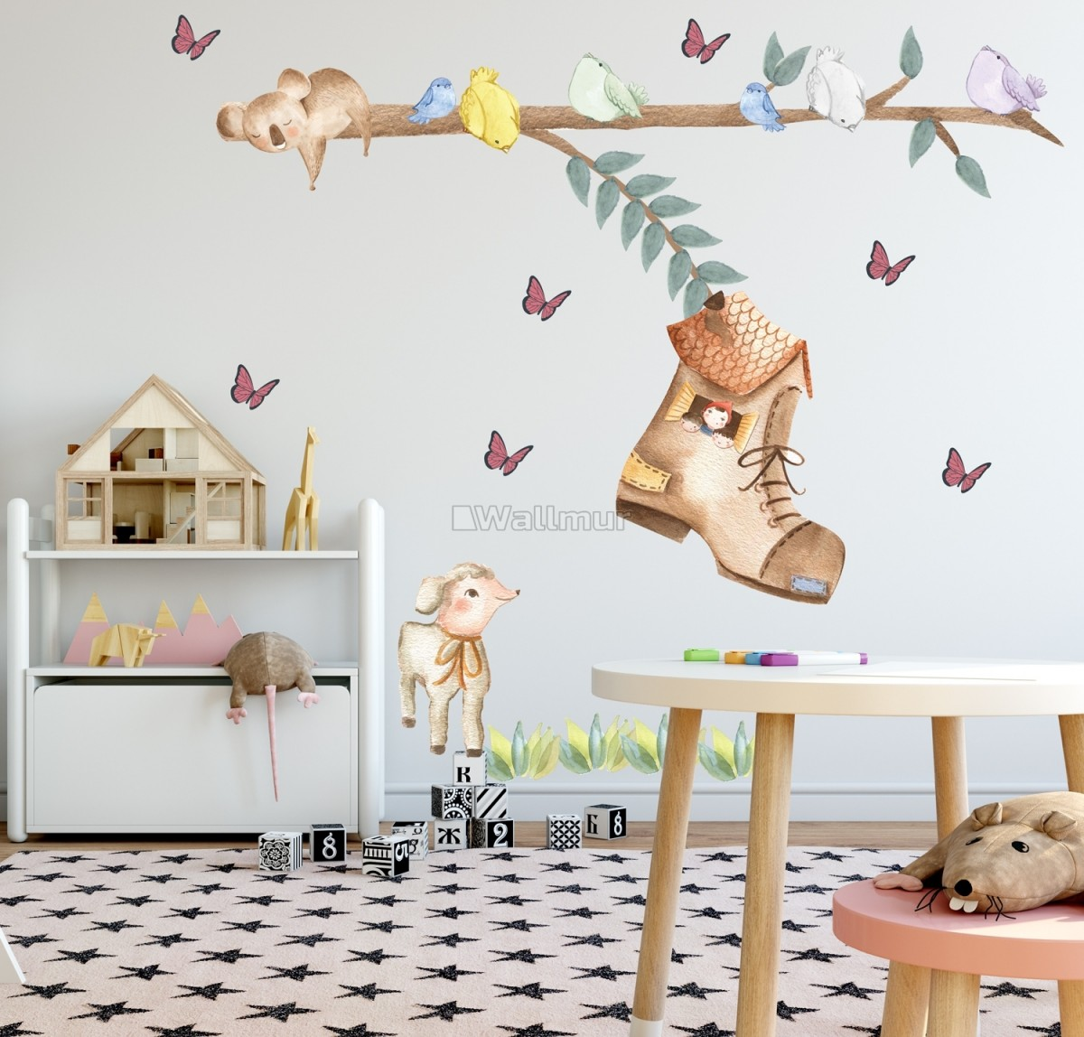 Kids Woodland Shoe home with Coala and Little Birds Wall Decal Sticker