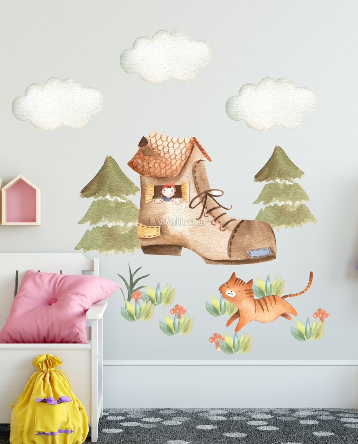 Kids Woodland Shoe with Cute Cats Wall Decal Sticker