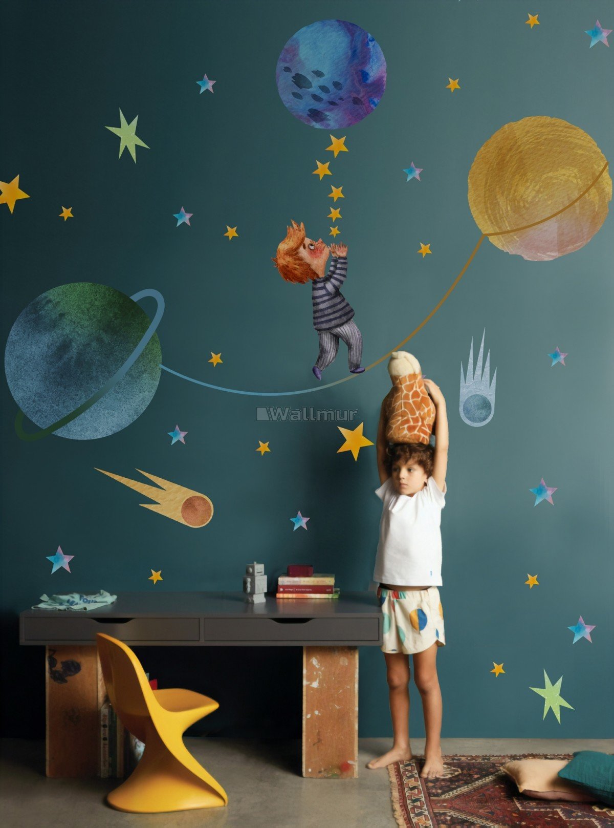 Little Boy with Blue Yellow Stars on the Outer Space with Blue Yellow Stars Wall Decal Sticker