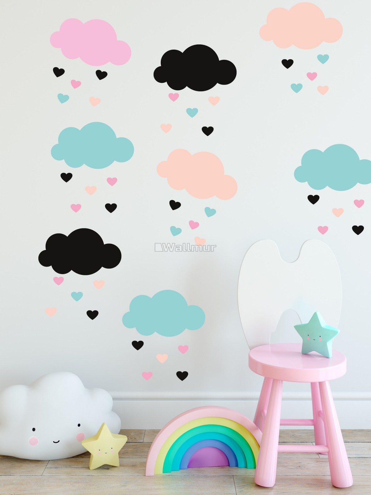 Nursery Colorful Cloud with Little Heart Wall Decal Sticker
