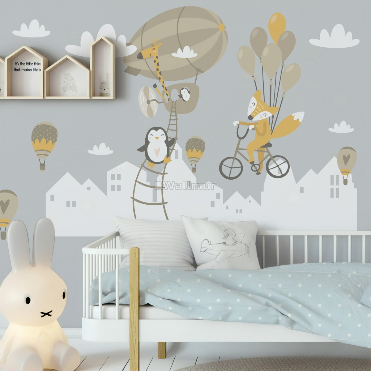 Nursery Hot Air Balloon and White Home Silhouette Wall Decal Sticker