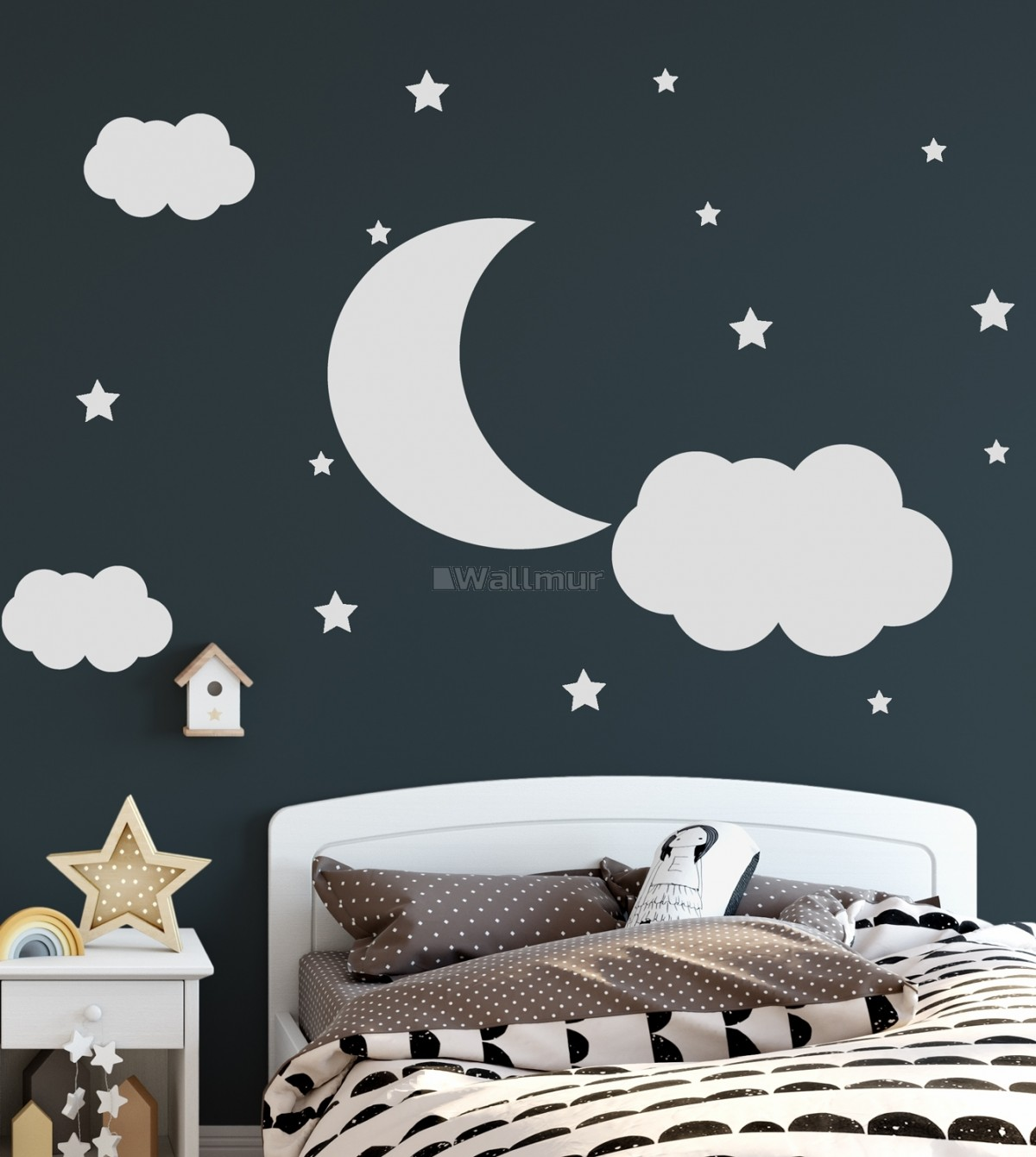 Nursery White Crescent Moon with Clouds Wall Decal Sticker