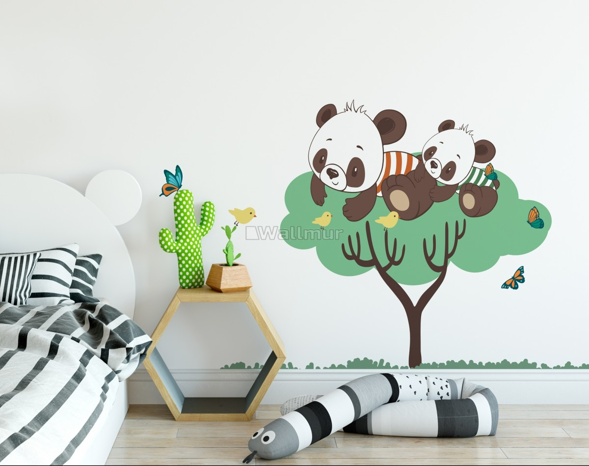 Panda and Her Cubs on the Tree with Butterfly and Birds Wall Decal Sticker