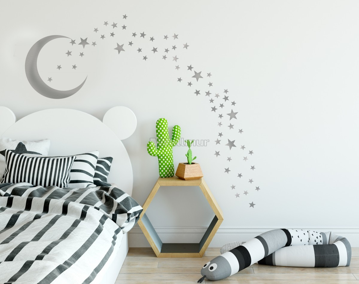 Silver Moon and Little Stars Wall Decal Sticker