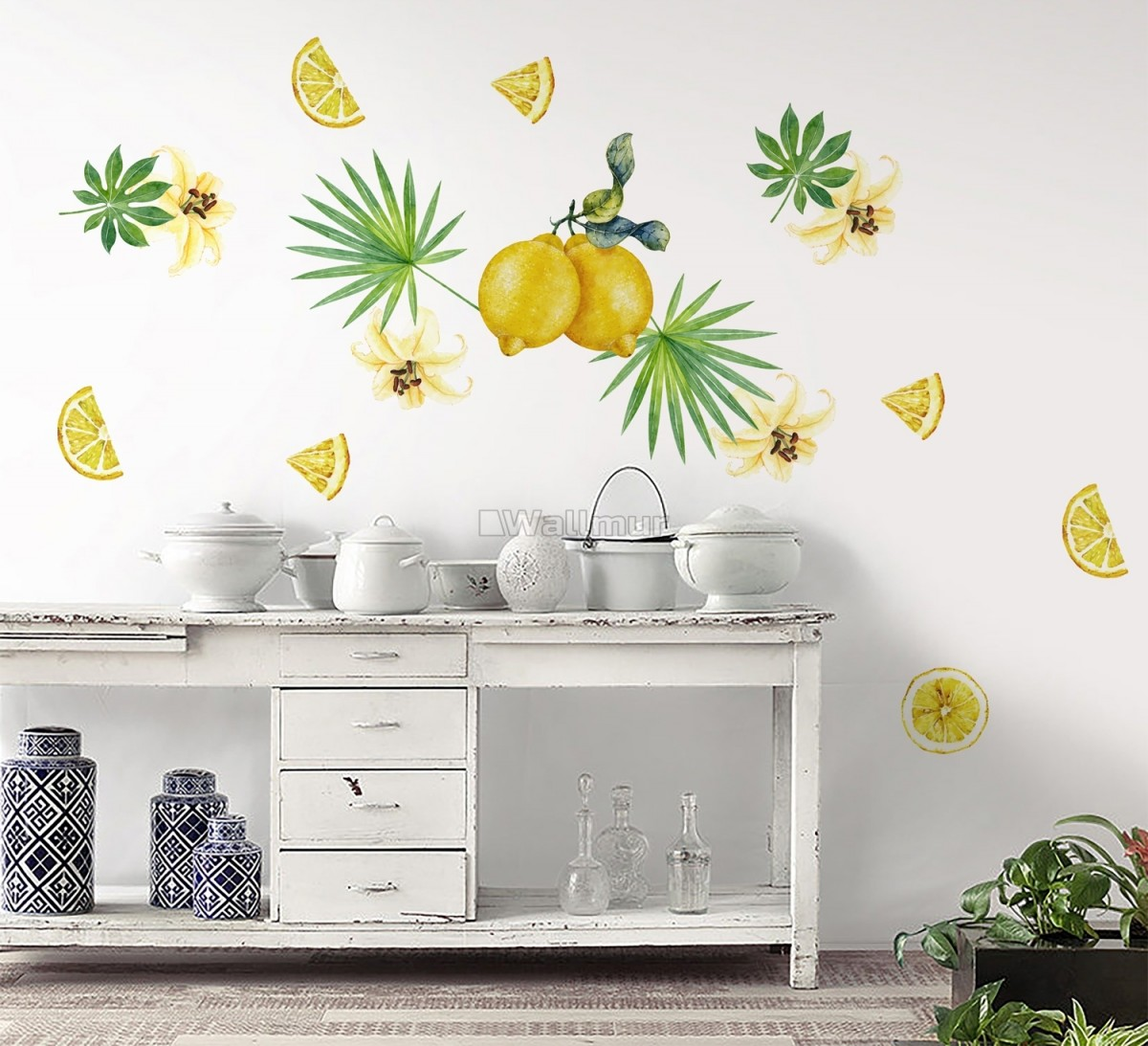 Yellow Lemon with Lily Florals Wall Decal Sticker