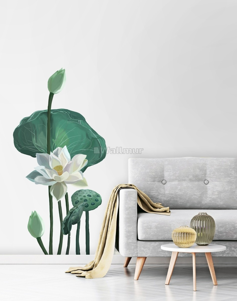 Watercolor White Lotus Floral and Leaves Wall Decal Sticker