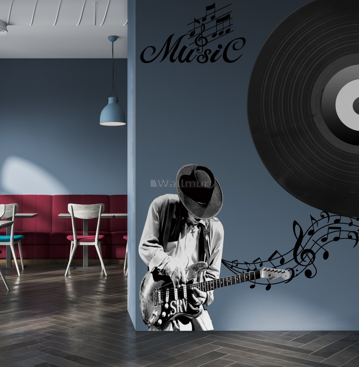 Black Music Record and Rock Music Notes Wall Decal Sticker