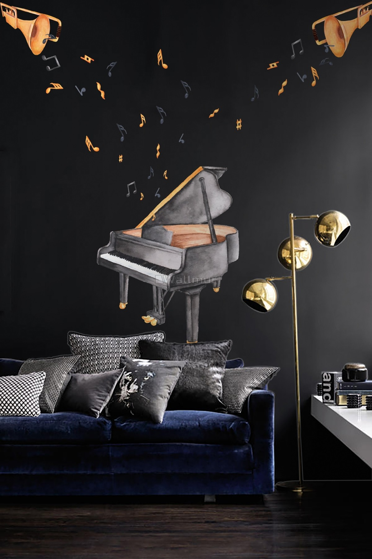 Watercolor Piano and Trumpet with Colorful Music Notes Wall Decal Sticker