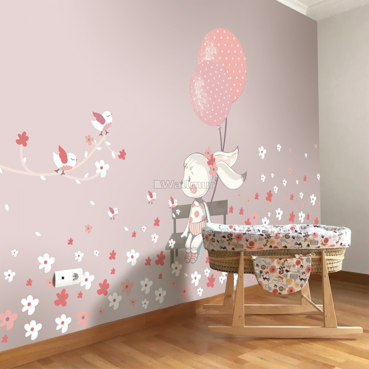 Cue Bunny with Pink Balloons and Little Flowers Wall Decal Sticker