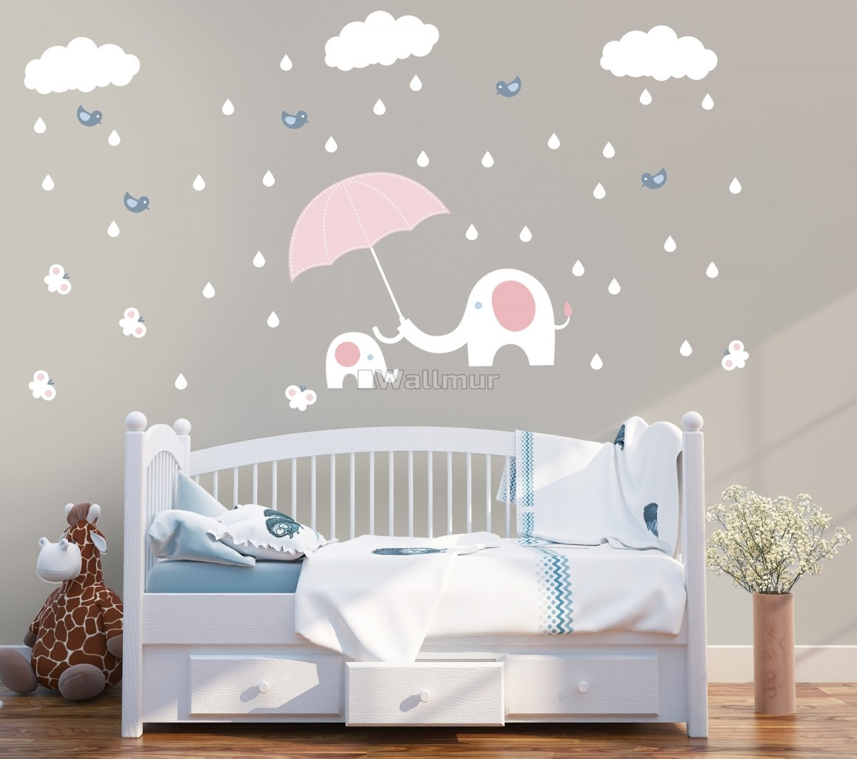 Kids Calf Elephant with White Raindrops and Little Butterfly Wall Decal Sticker