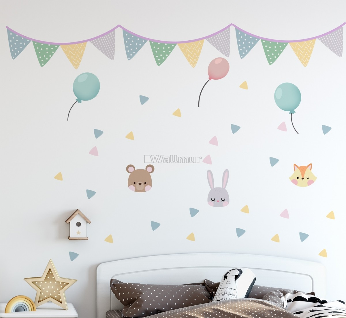 Nursery Cute Animals with Colorful Bunting and Triangle Flags Wall Decal Sticker