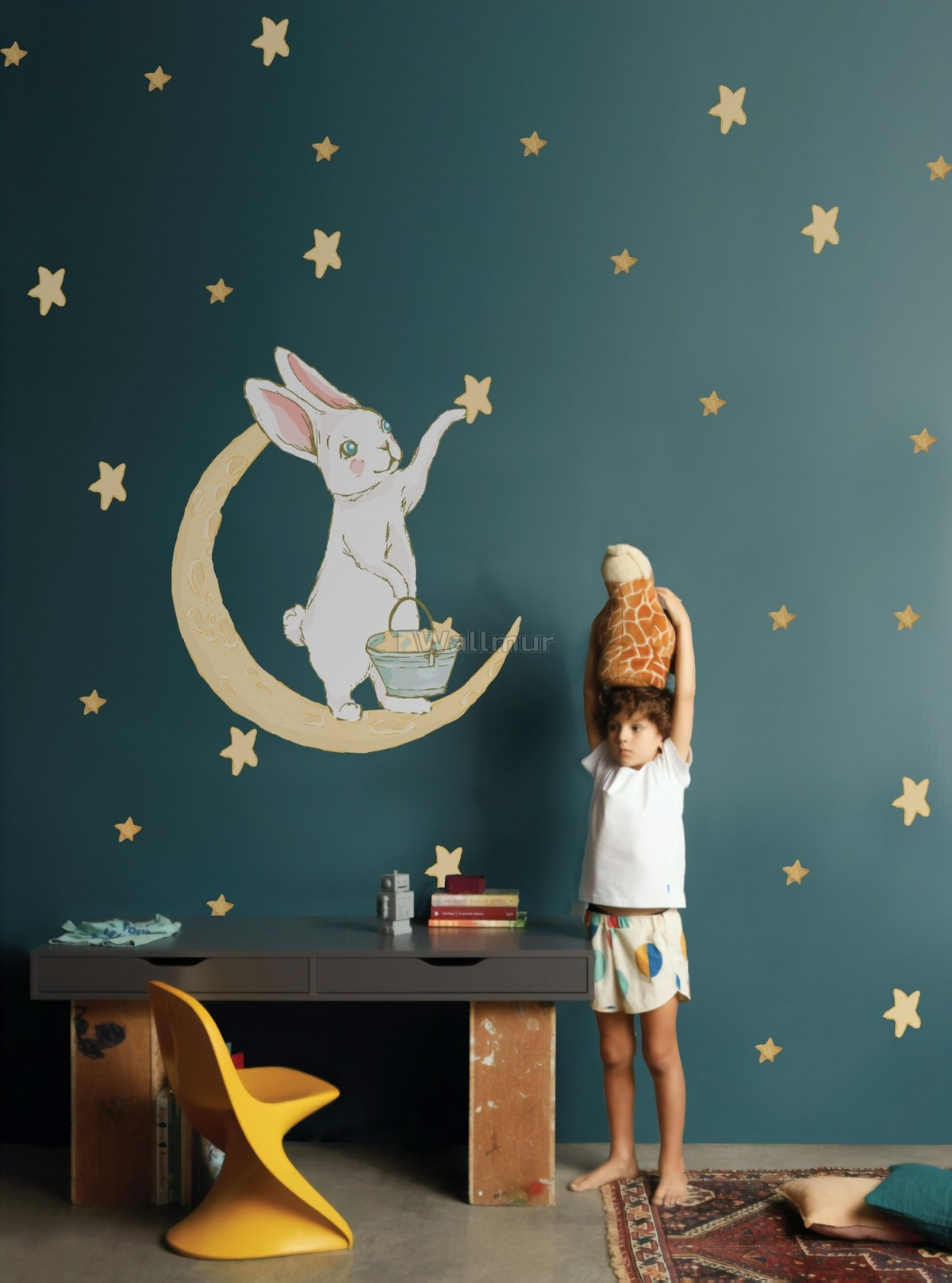 Nursery Cute Rabbit on the Crescent Moon and Yellow Stars Wall Decal Sticker