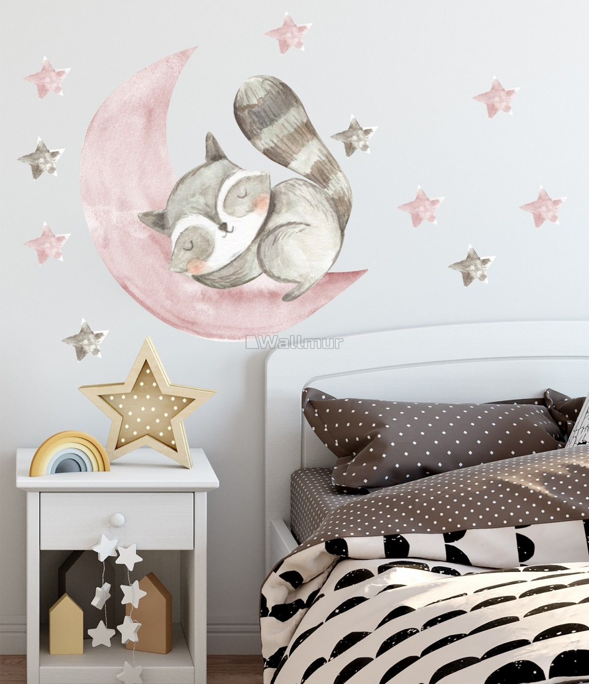 Nursery Cute Raccun and Watercolor Pink Gray Stars Wall Decal Sticker