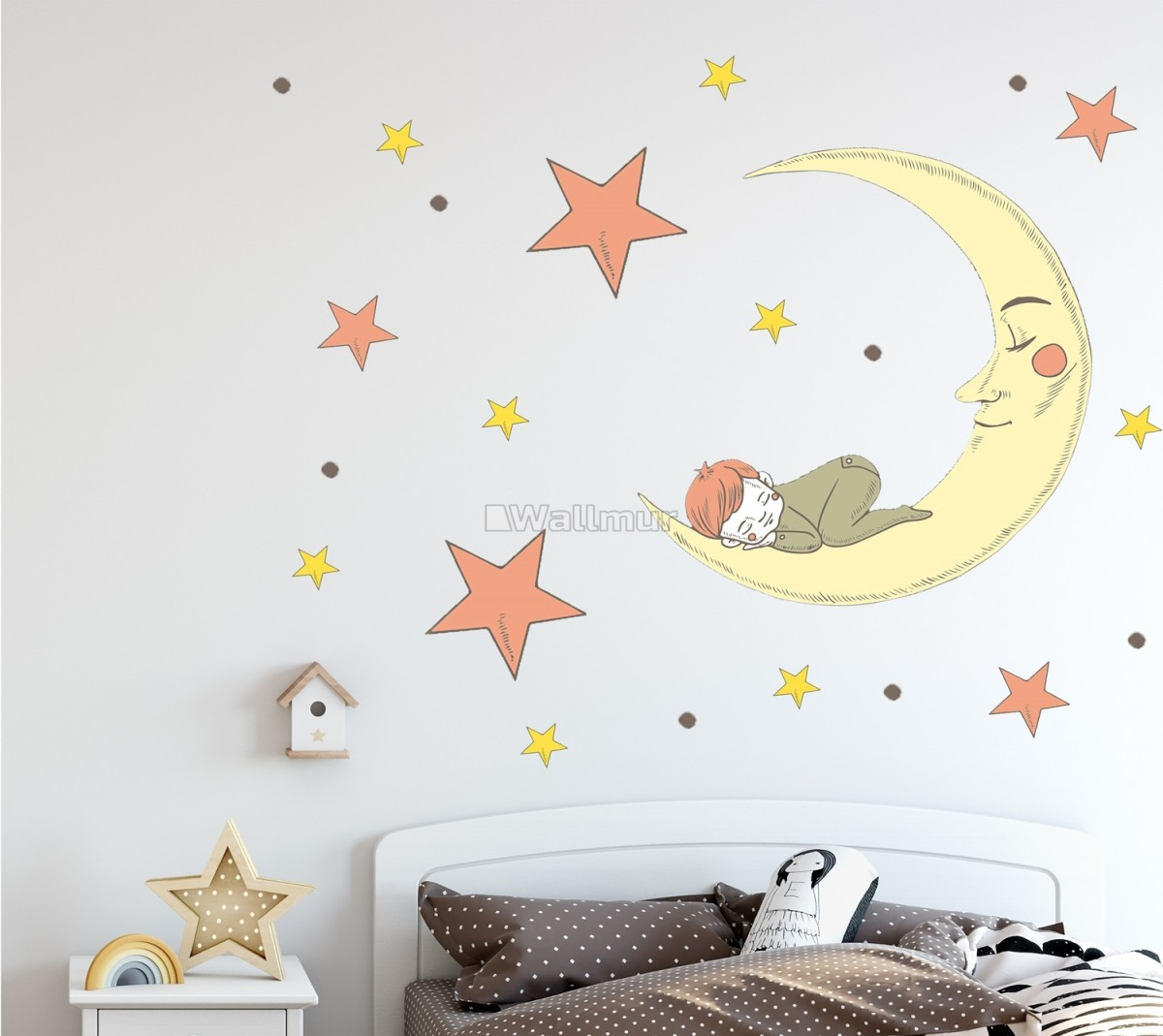Nursery Smiling Moon with Orange and Yellow Stars Wall Decal Sticker