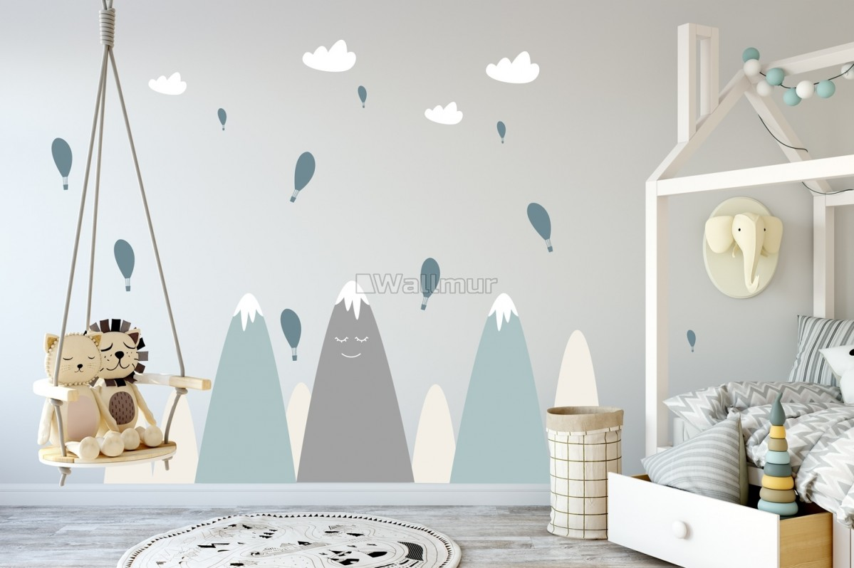 Nursery Soft Blue Gray Mountain Landscape and Little Hot Air Balloons Wall Decal Sticker