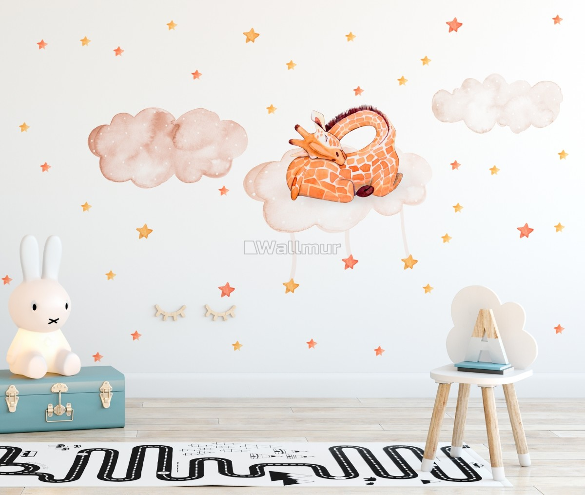 Nursery Watercolor Sleeping Giraffe And Clouds With Little Stars Wall Decal Sticker
