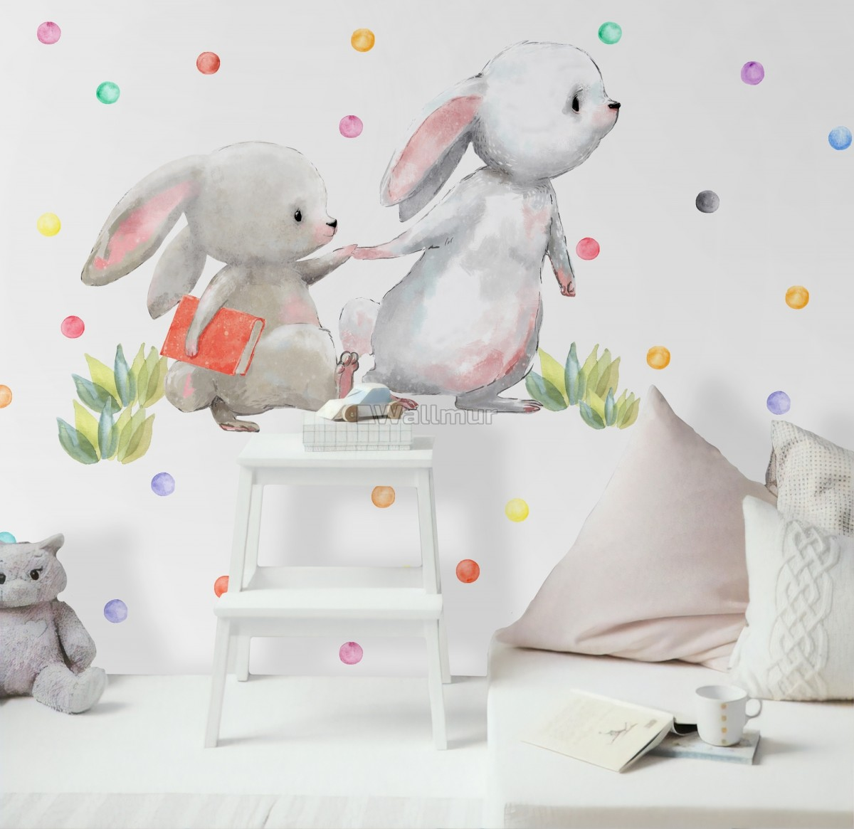 The Cute Bunny Reading Books with Colorful Polka Dots Wall Decal Sticker