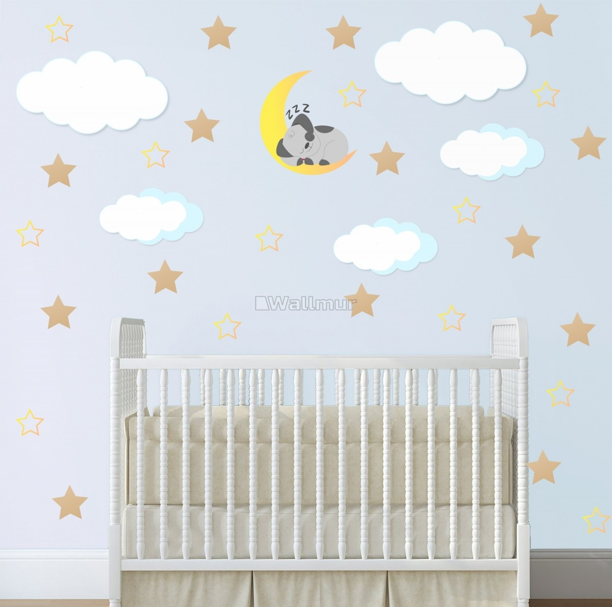 White Cloud and Stars Wall Decal Sticker