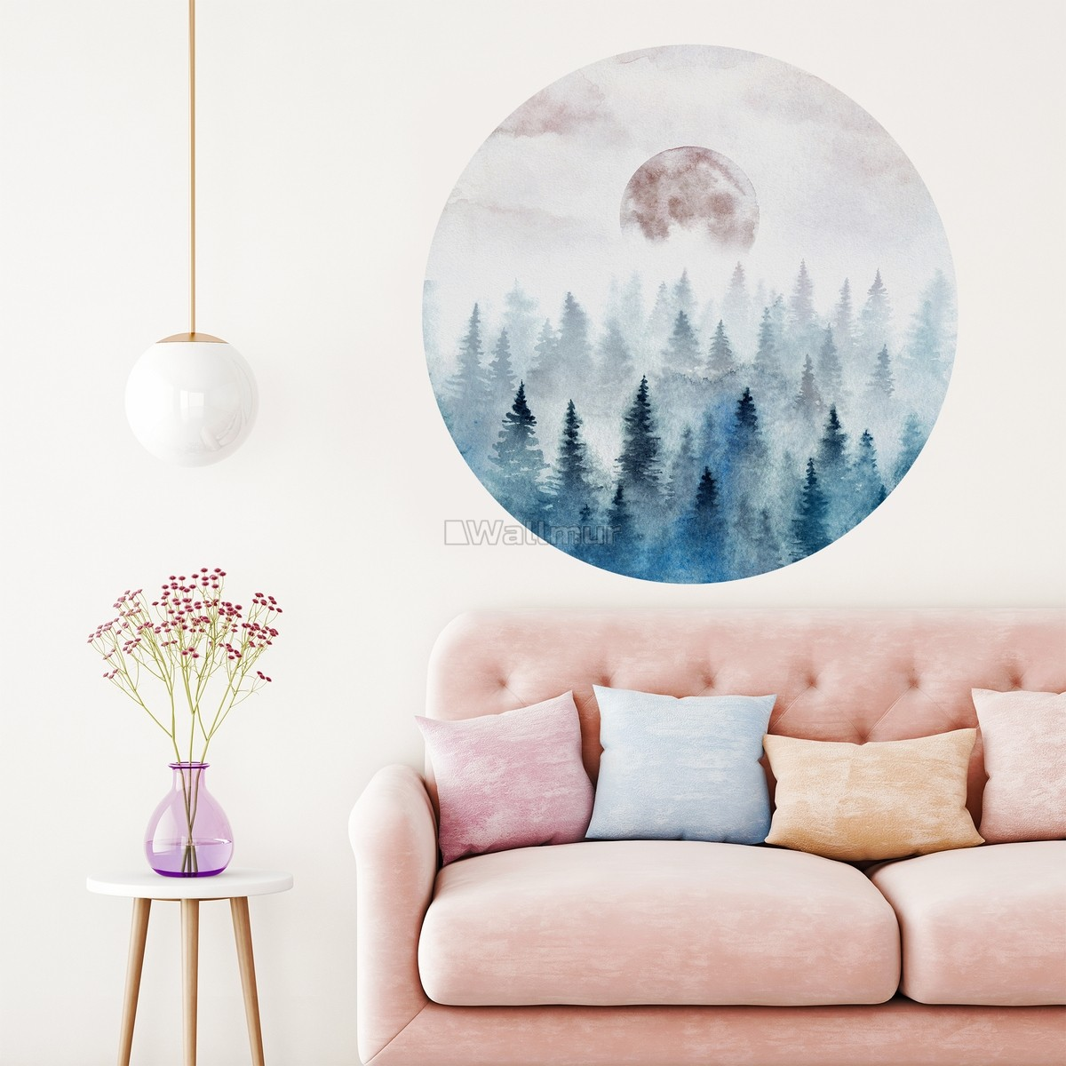 Foggy Forest with Rising Moon Landscape Circle Wall Decal Sticker