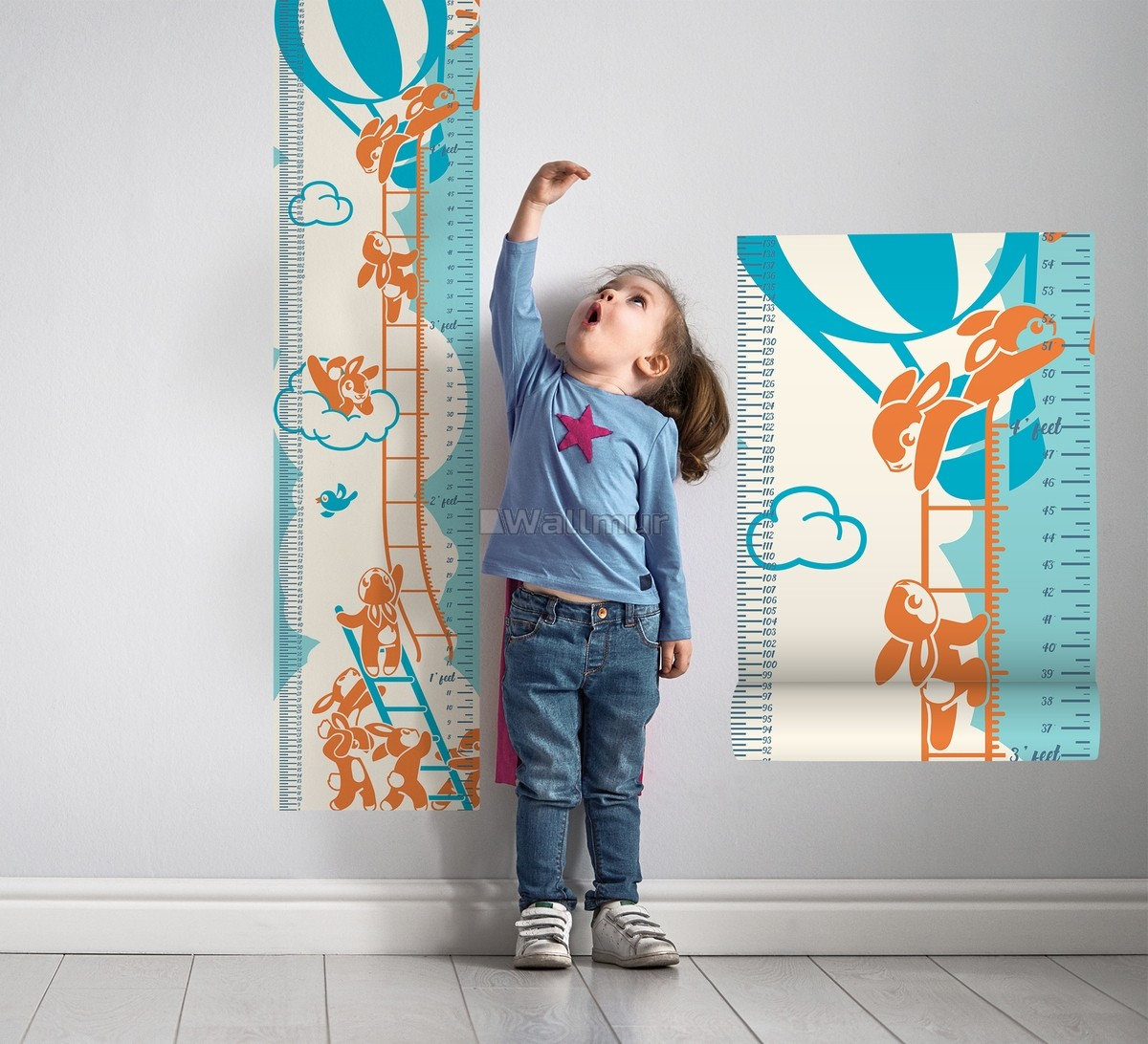 Kids Growth Chart With Hot Air Balloon Wall Decal Sticker