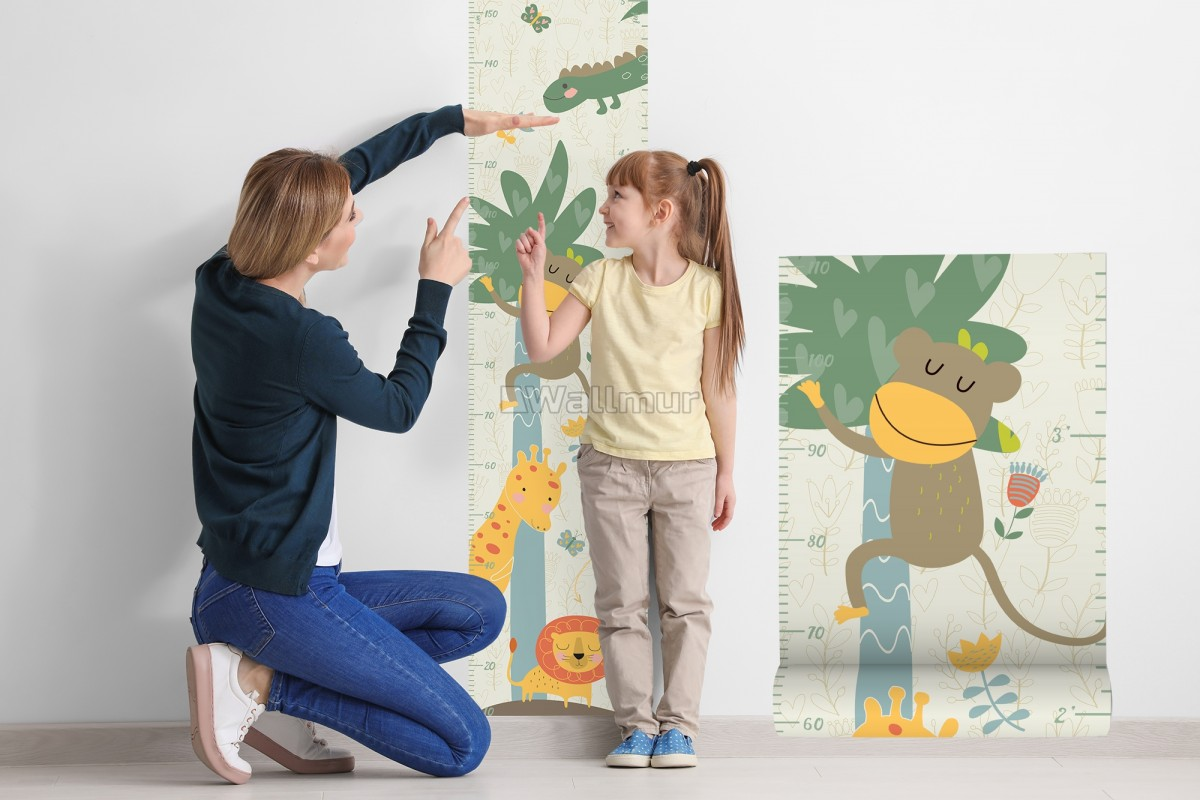 Kids Growth Chart with Tropical Animals Wall Decal Sticker